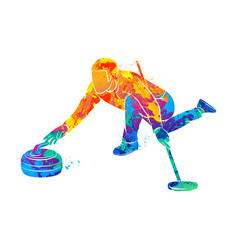 curling game sport vector image vector image
