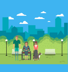 Disabled people in city life concept vector