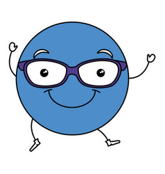 Emoticon with glasses character vector