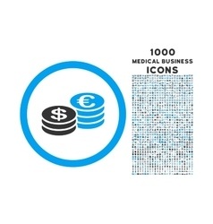 Euro and Dollar Coins Rounded Icon with 1000 Bonus vector image