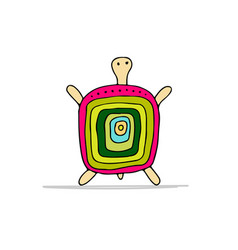 funny turtle sketch for your design vector image