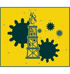 Gears gas rig with measuring lines vector image vector image