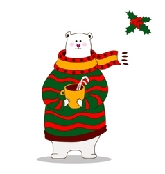 Hand drawn polar bear wearing scarf vector