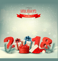 Holiday background with gift presents and 2018 vector
