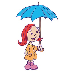 little girl with umbrella vector image vector image