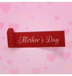 Mothers day realistic red festive curved ribbon vector