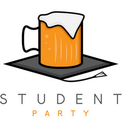 mug of beer in academic hat student party concept vector image vector image