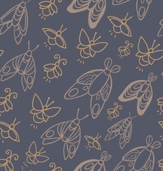 Seamless pattern with moths and fireflies vector