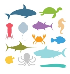 set of sea marine fish and animals icons vector image vector image