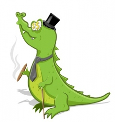sly crocodile vector image