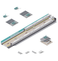 subway station isometric icon set vector image