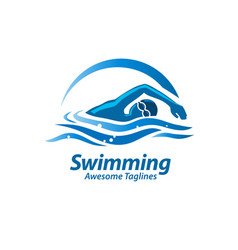 swimming logo vector image