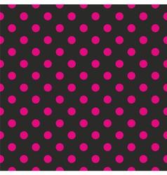 Tile pink polka dots on black background vector