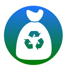 trash bag icon white icon in bluish vector image vector image