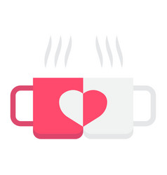 two pair mug flat icon valentines day vector image vector image
