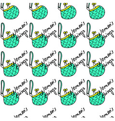 women fashion green bag and text seamless pattern vector image vector image