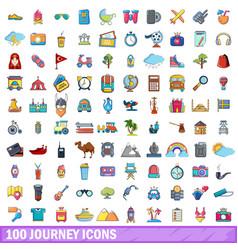 100 journey icons set cartoon style vector