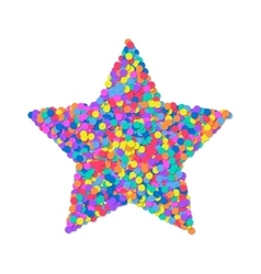 Star of colored confetti isolated on white vector