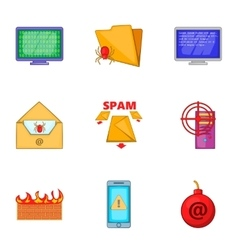 Cyber attack icons set cartoon style vector
