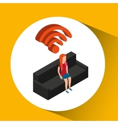 Family house wifi connection tv vector