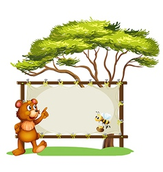 A notice board a bear and a honey bee vector