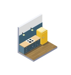 isometric of kitchen furniture home equipment vector image