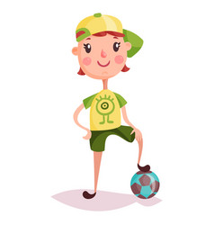 Little boy or kid child or schoolboy soccer ball vector
