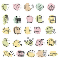 Set of hand drawn diet icons set set of hand vector