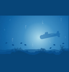Silhouette of submarine and fish on ocean vector