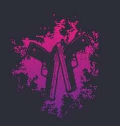 2 pistols on grunge splash two crossed handguns on vector
