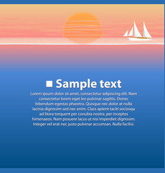 Sailing boat in the sea at sunset vector