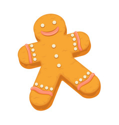 Gingerbread man cookie biscuit dessert icon vector