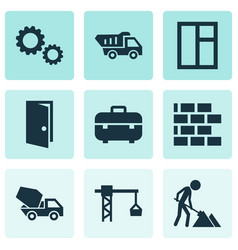 Building icons set collection of entrance wall vector