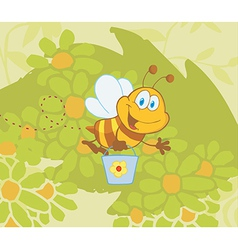 Cartoon bee gathering honey vector