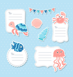 Cute sea animals greeting cards tags and stickers vector