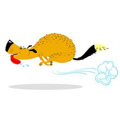 fast running dog cute racing pet cartoon jumping vector image
