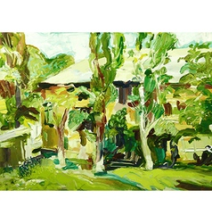 oil painting spring village landscape vector image