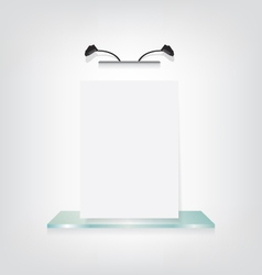 White poster on glass shelf bracket vector