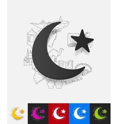 Moon paper sticker with hand drawn elements vector