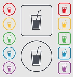 Soft drink icon sign symbol on the round and vector