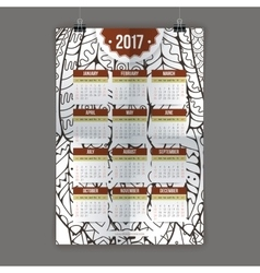 Zentangle colorful calendar 2017 hand painted in vector