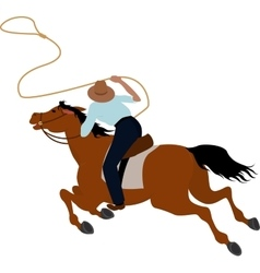 Cowboy rider on the horse throwing lasso vector
