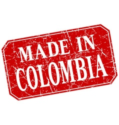 Made in colombia red square grunge stamp vector