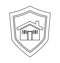 Shield with house icon vector