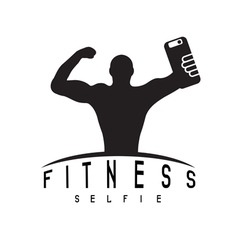 Man of fitness silhouette character make selfie vector