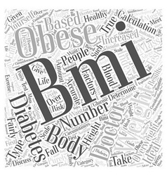 A healthy bmi for diabetics word cloud concept vector