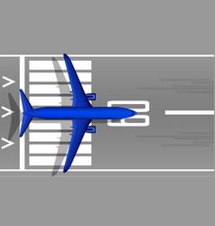 A modern jet passenger blue plane on the runway vector