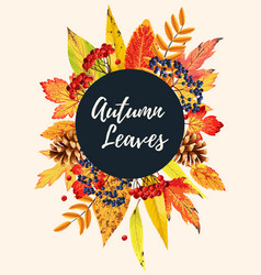 autumn card with leaves vector image vector image