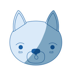 Blue color shading silhouette cute face of cat vector
