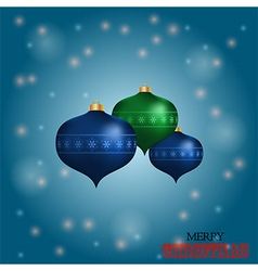 Christmas baubles over blue glowing background vector image vector image